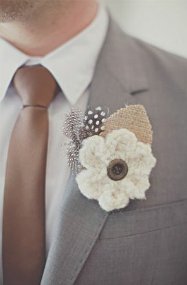 Crocheted Boutonnieres for Weddings